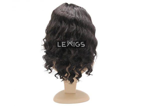 "14"" Black Wavy Full Lace Wig Human Hair"