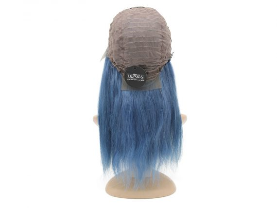 "Straight Blue Lace Front Wig Real Hair 12"" Lewigs"