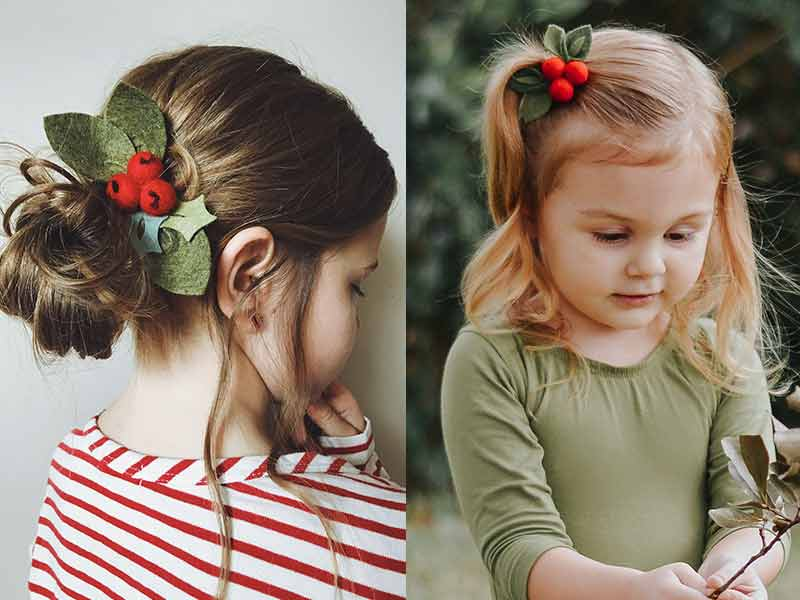 Baby Girl Christmas Holly Red Bow Headband Hairband Hair Accessory