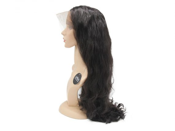"22"" Black Lace Front Closure Wig Human Hair 