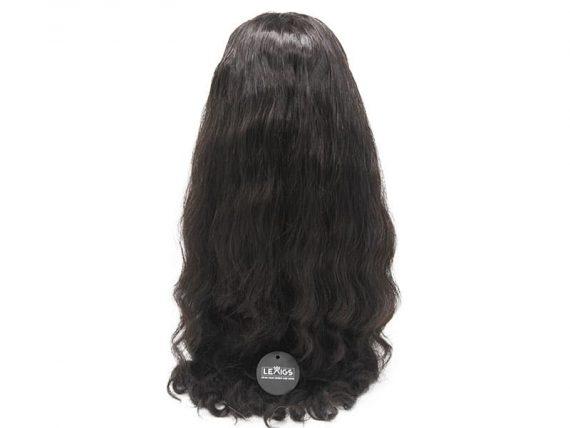 """22"""" Wavy Closure Wig Human Hair #1B"""