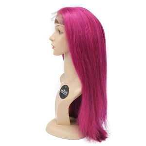 "Pink Lace Front Wigs Real Human Hair 22"" #Pink 