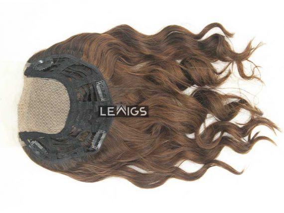"16"" Wavy Silk Top Wiglet Hairpiece Brown Color"