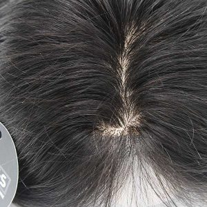 "14"" Black Silk Hair Topper Real Hair With Clear PU Perimeter"