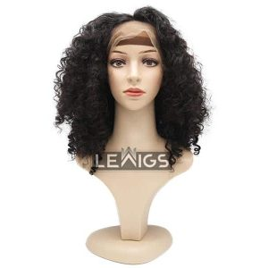 "Short Curly Full Lace Wig Real Hair 16"" 130% Density"