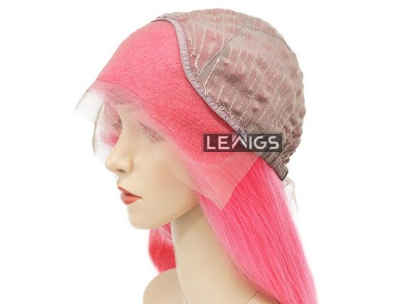 "22"" Pink Lace Front Wig LewigsReal Hair 180% Density"